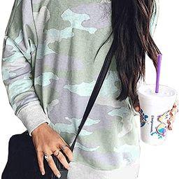 Women's Leopard Print Long Sleeve Crew Neck Fit Casual Sweatshirt Pullover Tops Shirts | Amazon (US)