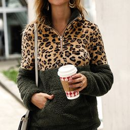 Gaovot Women's Pullover Sweaters army - Army Green & Leopard Quarter-Zip Sherpa Pullover Sweater - W   Zulily