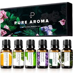 Essential Oils by PURE AROMA 100% Pure Therapeutic Grade Oils kit- Top 6 Aromatherapy Oils Gift S... | Amazon (US)