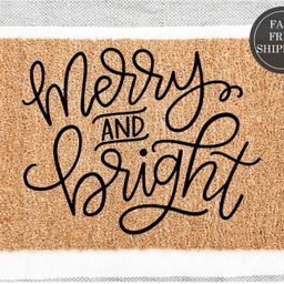 Merry and Bright doormat, Welcome doormat, housewarming gift, christmas gift, christmas decor, ho...   Etsy (US)