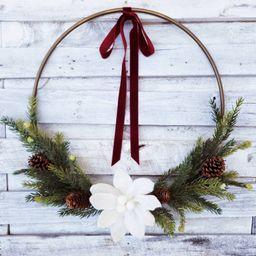 Modern Christmas Wreath, Hoop Winter Wreath, Poinsettia Wreath, Winter Wreath, Christmas Wreath   Etsy (US)