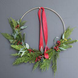 Christmas wreath, gold hoop wreath, holiday wreath, modern wreath, front door wreath, Christmas d...   Etsy (US)