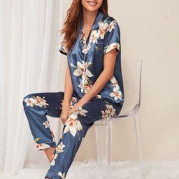 Floral Print Satin Pajama Set | SHEIN