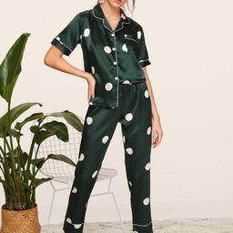Polka Dot Satin Pajama Set | SHEIN
