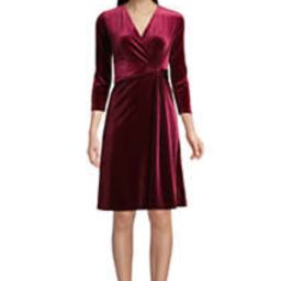 Women's 3/4 Sleeve Knot Front Fit and Flare Dress Velvet   Lands' End (US)