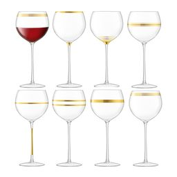Deco Assorted Gold Wine Glasses - Set of 8   Amara (UK)