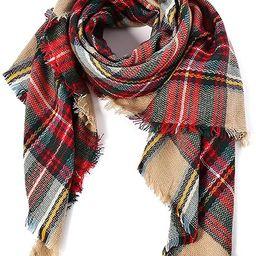 DEARCASE Women's Tassels Soft Plaid Tartan Scarf Winter Large Blanket Wrap Shawl   Amazon (US)