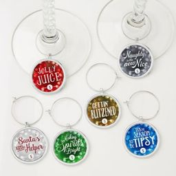 6-Piece Happy Holidays Wine Charm Set.   Bed Bath & Beyond