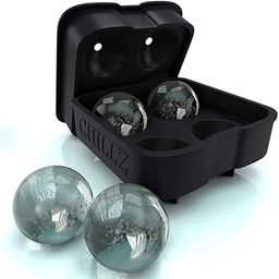 Chillz Ice Ball Maker Mold - Black Flexible Silicone Ice Tray - Molds 4 X 4.5cm Round Ice Ball Sp...   Amazon (US)