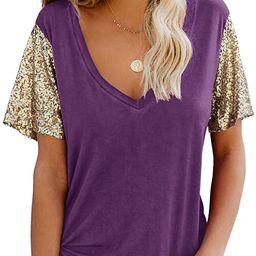 Topstype Women's Sequin Short Sleeve Tee V Neck T Shirts Glitter Sparkles Loose Blouse Tops | Amazon (US)