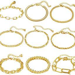 ÌF ME 9 PCS Chain Bracelets Set for Women Adjustable Fashion Paperclip Link Beaded Italian Cuban... | Amazon (US)