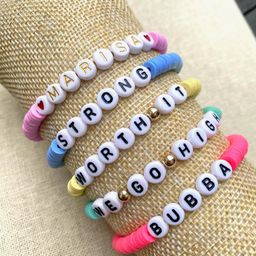 Custom Name Word Bracelet Stacking Stretch Polymer Clay Disc Bead Bracelet VSCO bracelet Colorful...   Etsy (US)