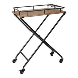 Metal and Wood Butler Tray with Rolling Stand | World Market