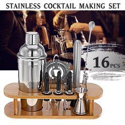 Cocktail Shaker Set Bartender Kit, 16 Pcs Bar Set 750mL Stainless Steel Bar Set with Bamboo Stand... | Walmart (US)
