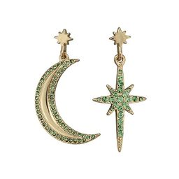 Soma Moon & Starburst Mismatched Green Statement Earrings | Oliver Bonas (Global)