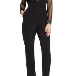 Eliza J Long Sleeve Shawl Collar Tuxedo Jumpsuit | Nordstrom | Nordstrom