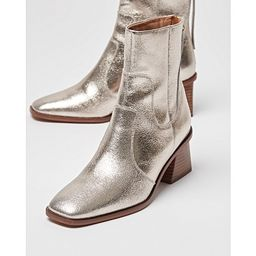 Golden Metallic Square Toe Ankle Boots | Oliver Bonas (Global)