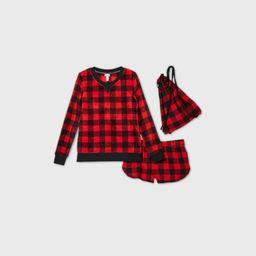 Women's Buffalo Check 3pc Backpack and Pajama Set - Wondershop Red XS   Target