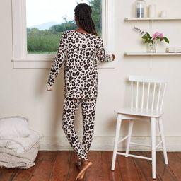 Women's Animal Print Cozy Long Sleeve Top and Leggings Pajama Set - Stars Above™ Oatmeal   Target