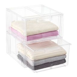 Clear Stackable Sweater Drawer Case of 2 | The Container Store
