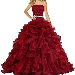 ANTS Women's Pretty Ball Gown Quinceanera Dress Ruffle Prom Dresses | Amazon (US)