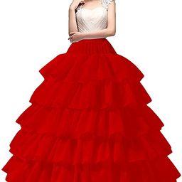 YULUOSHA Women's Crinoline Petticoat 4 Hoop Skirt 5 Ruffles Layers Ball Gown Half Slips Underskir... | Amazon (US)