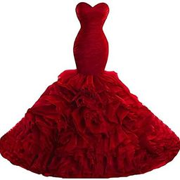 Women's Sweetheart Mermaid Prom Dresses Ball Gown Ruffles Organza Formal Evening Dresses Party Go... | Amazon (US)