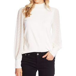 CeCe Long Sleeve Mock Neck Clip Sleeve Sweater (Antique White) Women's Clothing | Zappos