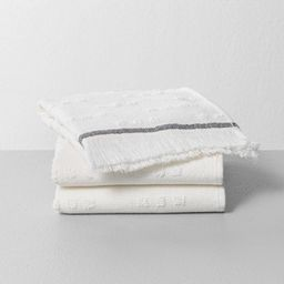 3pc Fouta Texture Dots Washcloth Set Sour Cream/Railroad Gray - Hearth & Hand™ with Magnolia | Target