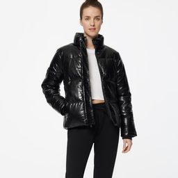 ALEX FAUX LEATHER SUPER PUFFER JACKET   Andrew Marc