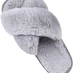 Women's Soft Plush Lightweight House Slippers Non Slip Cross Band Slip on Open Toe Cozy Indoor Ou...   Amazon (US)