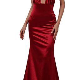 Miss ord Women Sexy V Neck Sleeveless Long Halter Party Dress | Amazon (US)