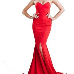 Miss ord Strapless Asymmetric Slit Front Wedding Evening Party Maxi Dress | Amazon (US)
