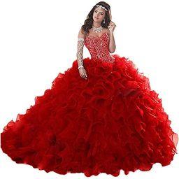 Wanshaqin Women's Heavy Beaded Sweetheart Ball Gowns Dresses Organza Ruffles Quinceanera Dresses ... | Amazon (US)