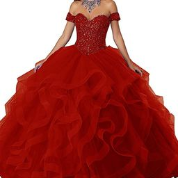 APXPF Women's Crystals Ruffle Quinceanera Dress Sweet 16 Ball Gown Prom Dress | Amazon (US)