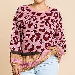 Avenue Hill Women's Pullover Sweaters ROSE - Rose & Black Leopard Bishop-Sleeve Pullover Sweater - W   Zulily