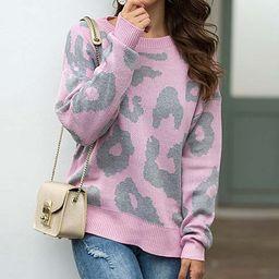 Jiana Women's Pullover Sweaters Pink - Pink Leopard Scoop Neck Sweater - Women   Zulily