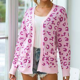 Maison Mascallier Women's Pullover Sweaters Pink - Pink Leopard Side-Pocket Open Cardigan - Women   Zulily