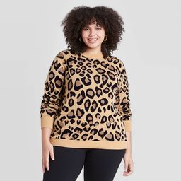 Women's Plus Size Leopard Print Crewneck Pullover Sweater - Ava & Viv Pink 1X   Target