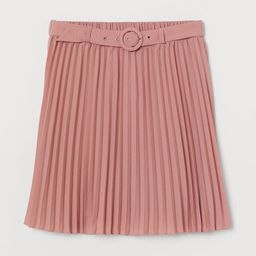 H & M - Belted Pleated Skirt - Pink   H&M (US)