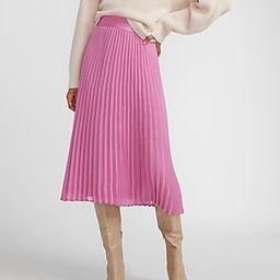 High Waisted Pleated Midi Skirt Pink Women's XXS   Express