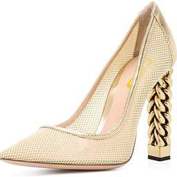 FSJ Women Gold Metal Chain Chunky High Heel Pointed Toe Slip On Fashion Pumps Shoes Size 4-15 US | Amazon (US)