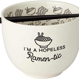 Enesco Our Name is Mud Hopeless Ramen-Tic Soup Bowl and Chopsticks Set, 5 Inches, White | Amazon (US)