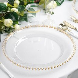"""Efavormart 6 Pack 12"""" Clear Acrylic Round Charger Plates With Beaded Rim Dinner Charger Plates   Walmart (US)"""