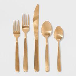 20pc Stainless Steel Silverware Set Gold - Threshold™   Target