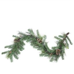 """6' x 14"""""""" Artificial Mixed Pine with Pine Cones and Gold Glitter Christmas Garland - Unlit 