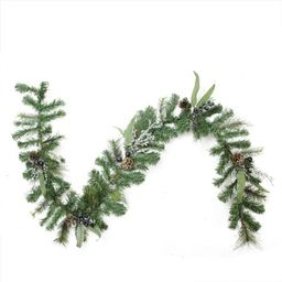 """6' x 10"""""""" Artificial Mixed Pine with Blueberries Pine Cones and Ice Twigs Christmas Garland - Unlit 