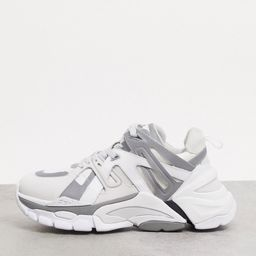 ASH addict chunky sneakers in white with silver | ASOS (Global)