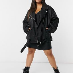 ASOS DESIGN Curve oversized leather look biker jacket in black | ASOS (Global)