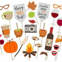 Happy Fall Yall Photo Booth Props Kit Thanksgiving Day Harvest Festival Pumpkin Party Supplies-26...   Amazon (US)